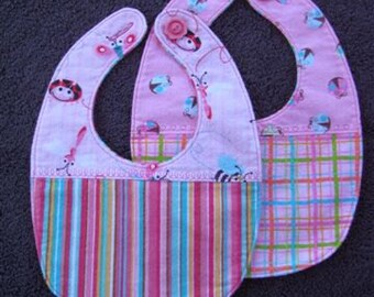 Baby Girl Bibs Set of 2 - Each Baby Bib is a Pink Bug Design made with Soft Flannel
