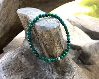 4 mm Chrysocolla stone bracelet, Stone bracelets, Beaded bracelets, Beadwork bracelets, Stretch Bracelet, Gemstone Bracelet
