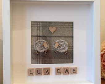 Luv Ewe, Love You, Sheep, Ewe, Picture Frame, Tweed, Picture, Frame, Scrabble Art, Scrabble, Tartan Picture