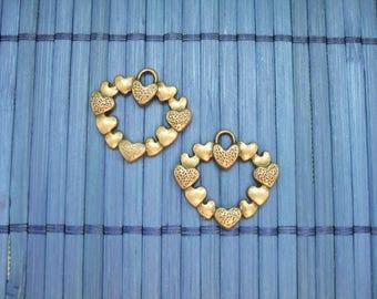 2 charms bronze metal hearts