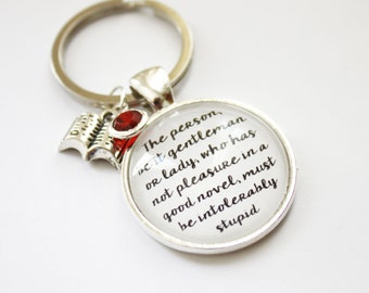 Book quote keyring. Jane Austen. May Alcott. Gift for booklovers. Pride prejudice. Northanger Abbey. Little Women. Personalized