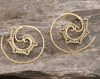 Brass earrings, spiral earrings