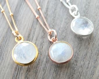Rainbow Moonstone Necklace  Moonstone Pendant Opal Necklace Rose Gold Moonstone Necklace Silver Necklace Moonstone jewelry