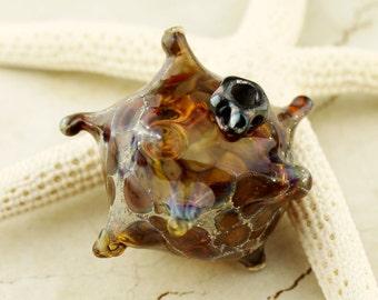 Lampwork Glass Bead Hollow Focal Brown, Black, Gunmetal Gray, Spiny Sea Creature