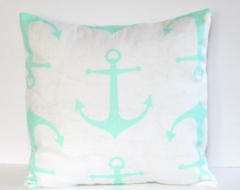 Mint AnchorsPillow Cover- Mint and White Decorative Couch Pillow 16x16- Ready to Ship