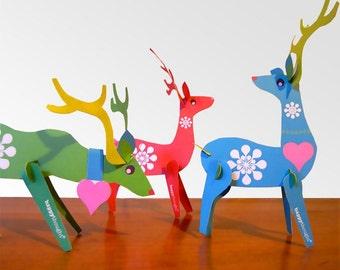 Reindeer paper ornaments PDF kit