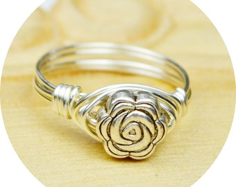 Sale! Rose Ring-Sterling Silver, Yellow OR Rose Gold Filled Wire Wrapped Ring with Silver Tone Metal Rose- Size 4 5 6 7 8 9 10 11 12 13 14