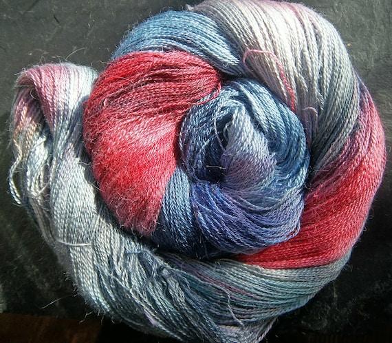 Alpaca Silk Lace 2ply Yarn Spring Equinox Storm Elvincraft Hand Painted