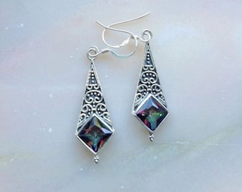 Rainbow amethyst sterling silver earrings, rainbow amethyst, handmade, vintage earrings, for her