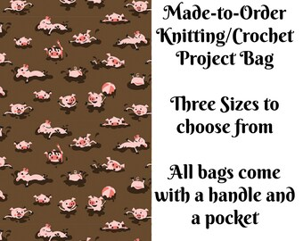 Hogwash, Pig Knitting Project Bag, Large Project Bag, Drawstring, Zippered, Sock Sack, Yarn Tote, Sock Project