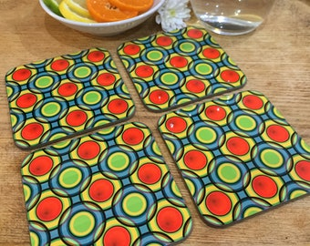 Coffee, Tea, Beverage Drink Coaster abstract, fun, colourful, bright, modern design