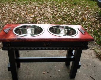 Two Tone Elevated Pet Feeder, Large Dogs Feeding Station, Red Oak Stained Top, Cottage Chic Two quart stainless Dog Bowls Made To Order