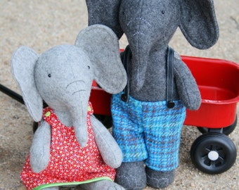 Elephant PDF pattern, elephant sewing PDF, softie pdf pattern, DIY elephant pattern, elephant toy pdf , Parsley & Beet