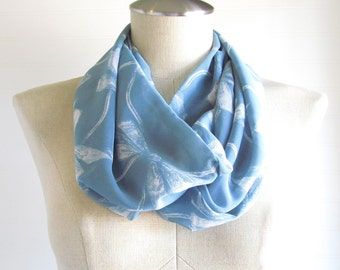 Blue Bow Print Scarf - Teal Infinity Scarf - Infinity Bow Scarf - Scarf with Bows