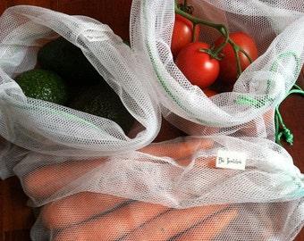 Reusable Mesh Market Produce Bags - Bag Set of 4