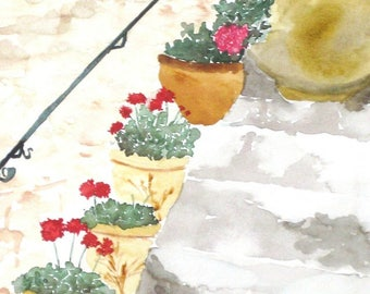 "Watercolor Art, Geranium Art, Flower Painting, Geraniums, French Cottage, Garden Art- Giclee Print of Fine Art Watercolor Painting- ""Steps"""