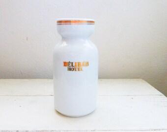 Porcelain decanter, porcelain vase, Hungarian porcelain, Delibab Hotel, travel souvenir, vintage vase, gold leaf, white porcelain, hotel