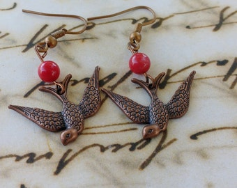 Copper tone swallow earrings bird earrings