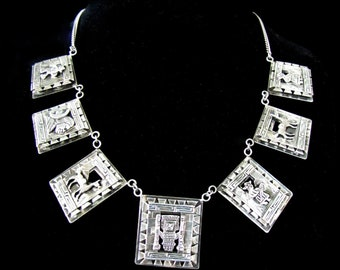Vintage Peruvian Marked 975 Silver Necklace with Square Panels