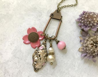 Charm Necklace, Pink Flower, Banana Bob Pendant, Pearl Charm, Vintage Inspired, Woodland Necklace, Retro, Easter Necklace, Spring Jewelry