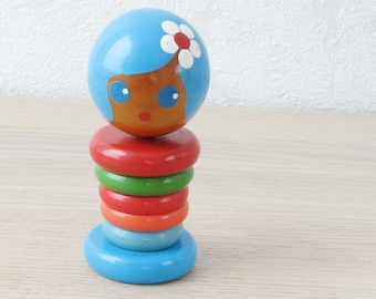 Vintage 70's Wooden Stacking Rings Toy