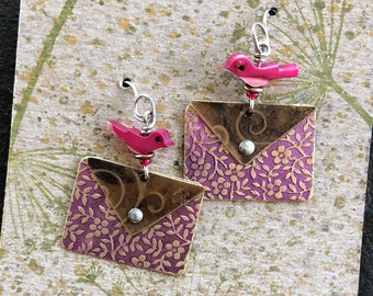 Love Letter Earrings with Pink Birds