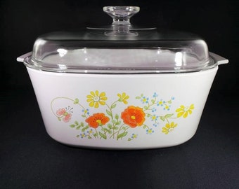 Corning Ware Wildflower A-5-B Roaster Casserole Dish with Pyrex Lid