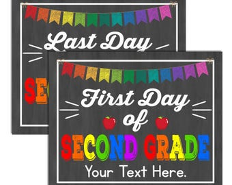 First Day of Second Grade School Sign, INSTANT DOWNLOAD and Editable