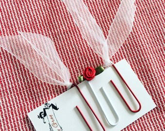 Red Roses and Sheer Ribbons, Decorative Paper Clips