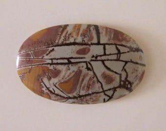 Elongated oval Sonora Dendritic Jasper designer cabochon. 29 x 46 mm. Sonora stone. Dendritic formations Deep brown and greys. 123L0053