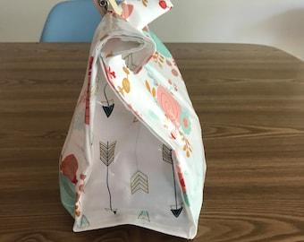 Handmade oil cloth lunch bag