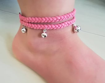 Ankle strap with bubbles-pink