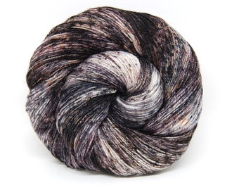 "Glam Rock Sparkle Sock Yarn - ""Smoky Quartz"" -  Handpainted Superwash Merino - 438 Yards"
