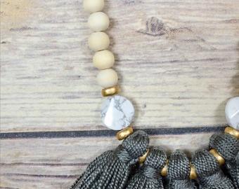 Gray 5 tassel necklace boho 2 styles