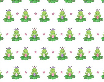 White Frog Prince Fabric Frogs Fairy Tale Ta-Da Henry Glass Dana Brooks Metallic Cotton