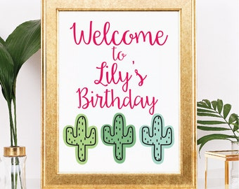 Cactus Birthday Party Door Sign - Customizable Text and Colors - Fiesta Theme  - Printable - 8.5x11 Digital Download