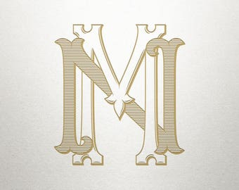 Vintage Monogram Letters - MN NM - Vintage Monogram - Digital
