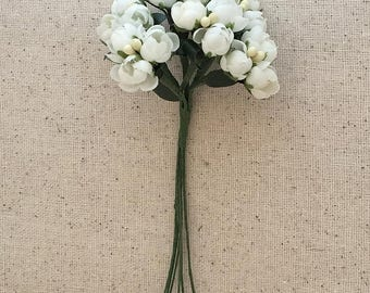 Fabric Millinery Flowers From Austria 18 White Buds On 6 Stems Flowers A-1W