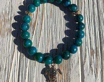 Deep sea blue sea turtle bracelet