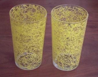 2 Vintage Yellow Spaghetti String Glasses Tumblers