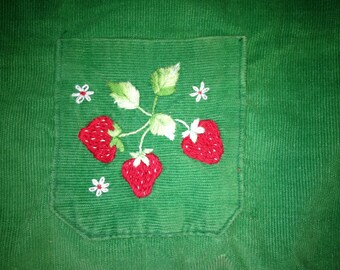 POCKET OF STRAWBERRIES Beginner Level Crewel Embroidery