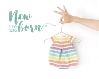 Size New Born- Rainbow Romper PDF Knitting Pattern- Instant Download