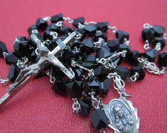 NECKLACE ROSARY, Prayer beads, Gloria, Catholic rosary, Gothic, Religious Jewelry, Crystal, Sterling, black, Father's day gift