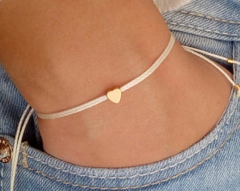 Tiny heart bracelet, wish bracelet, gold bracelet, friendship bracelet, bridesmaid gift