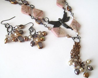 Multi Chain Black Fairy Pendant Necklace, Fresh Water Pearl Cluster Necklace, Pink Australian Opal Beads, Jewelry by Darla Dietz