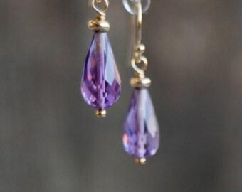 Amethyst Earrings, Small Gemstone Earrings, Drop Earrings, Dangle Earrings, Amethyst Jewelry, Purple Earrings, Stone Earrings, Mothers Day