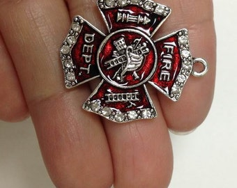 4pcs Fire Fighter rhinestone Charm, Fire fighter Crystal Charm