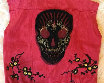 Up-cycled-Vintage Red Denim Vest with patches - On trend with McQueen, Gucci