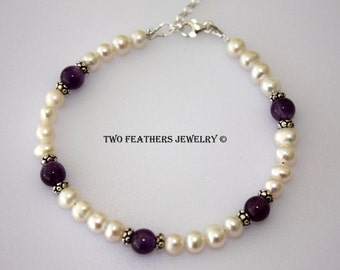Amethyst Bracelet - White Pearl Bracelet - Sterling Silver Bracelet - February June Birthstone Bracelet - 3rd 6th Anniversary - Two Feathers