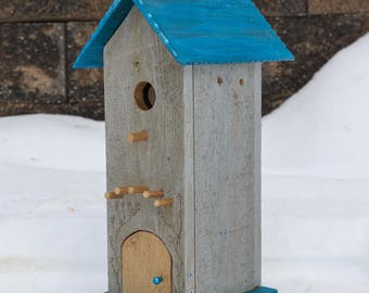 Tall Birdhouse - Silver and Blue